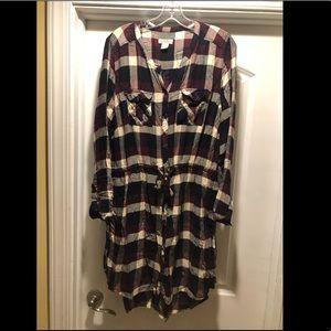 Lucky Brand Plaid Shirtdress with tie waist XL
